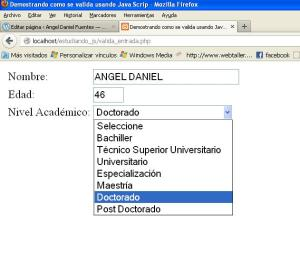 seleccionando el nivel academico